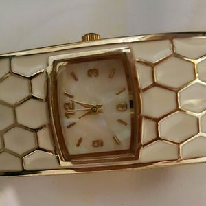 Accessories - White and Gold Tone Enamel Boutique Watch